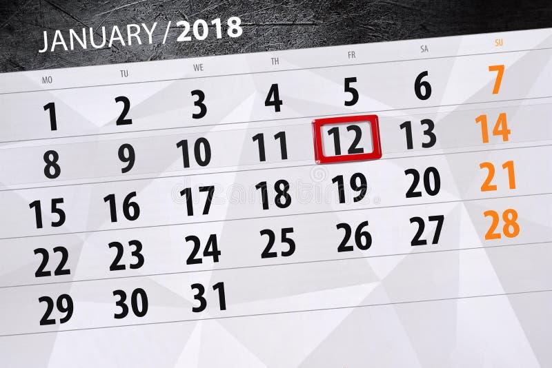 fond calendrier quotidien 12 janvier illustration de vecteur