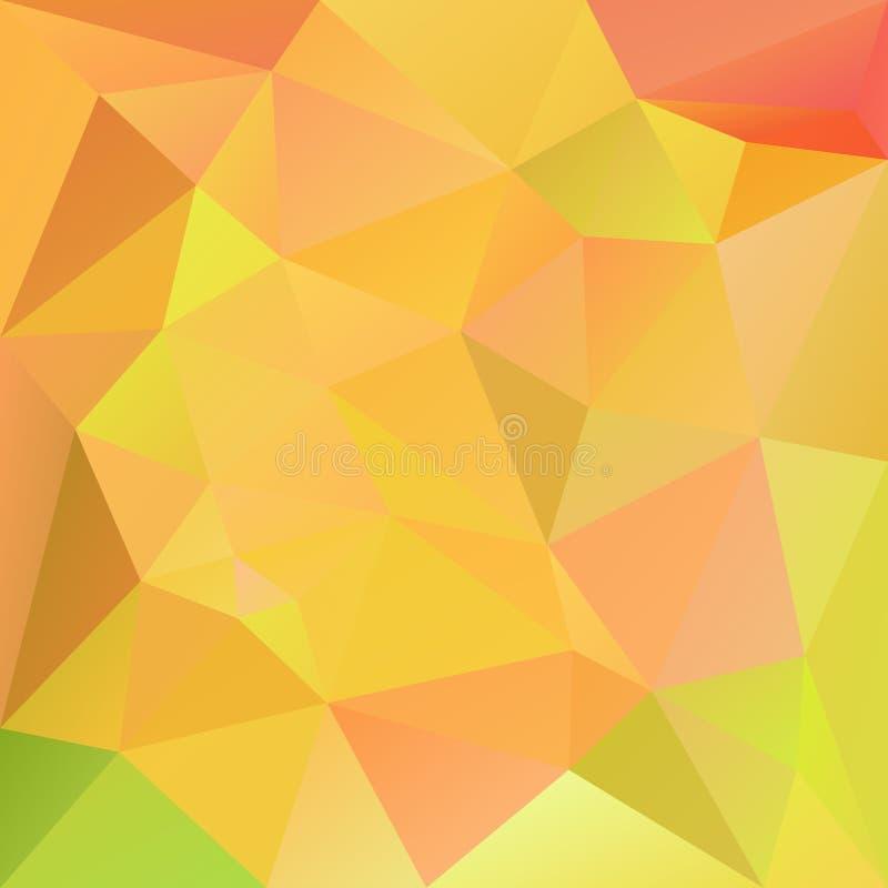 Fond carré polygonal irrégulier de vecteur - bas poly modèle de triangle - couleur jaune-orange et verte d'automne de chute illustration stock