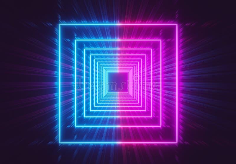 Fond carré rougeoyant d'abrégé sur tunnel de lampes au néon rose et couleurs vibrantes bleues rendu 3d illustration stock