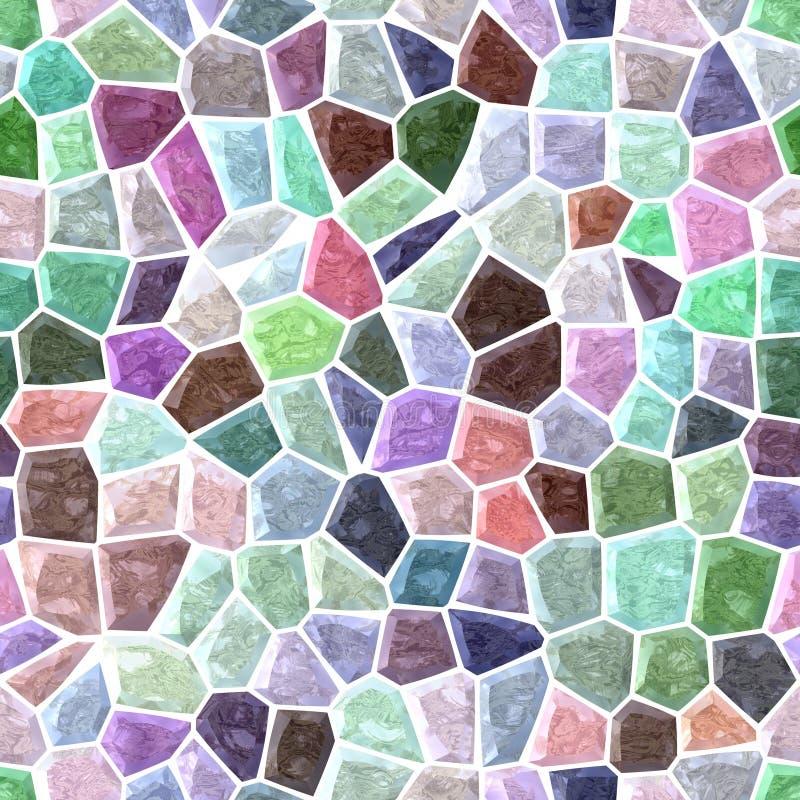 Fond carré sans couture de plancher de mosaïque extérieure de marbre avec le coulis blanc - spectre polychrome en pastel léger -  illustration libre de droits