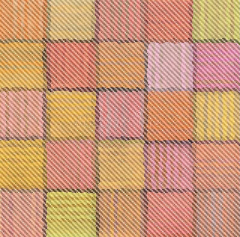 Fond carré trouble de modèle de patchwork mélangé rayé illustration libre de droits