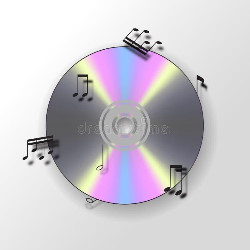 Fond CD avec les notes musicales illustration de vecteur