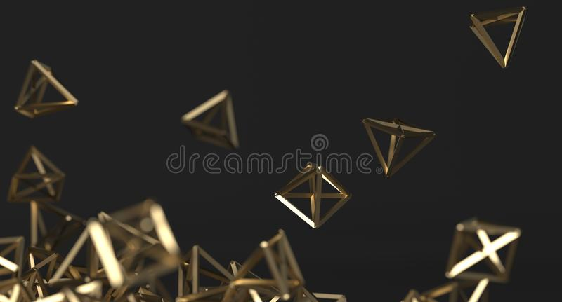 Fond chaotique abstrait de pyramides d'or illustration stock