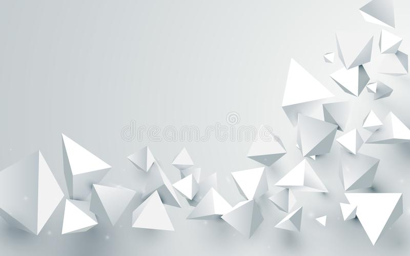 Fond chaotique de pyramides abstraites du blanc 3d Illustration de vecteur illustration libre de droits