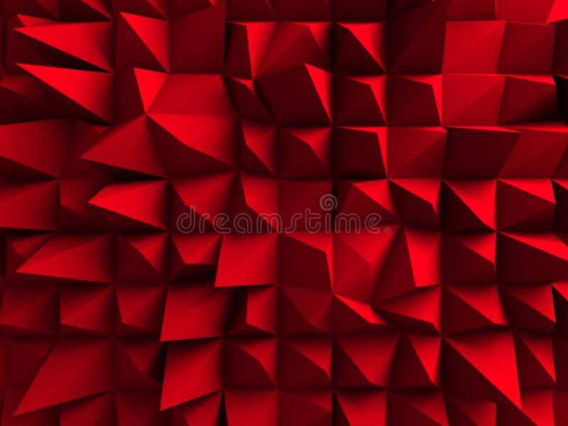 Fond chaotique rouge de mur de cubes illustration stock