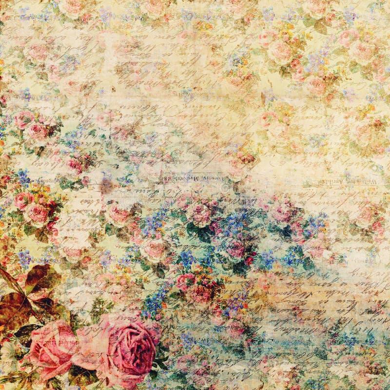 Fond chic minable floral de vintage avec le manuscrit photo libre de droits
