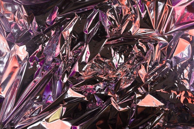 Fond chiffonné abstrait d'aluminium Fond grunge de photo Couleurs au n?on couleur de cam?l?on photo stock