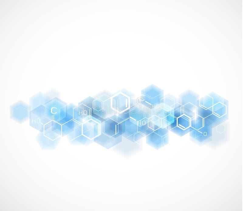 Fond chimique et moléculaire de calibre de concept, illus de vecteur illustration libre de droits