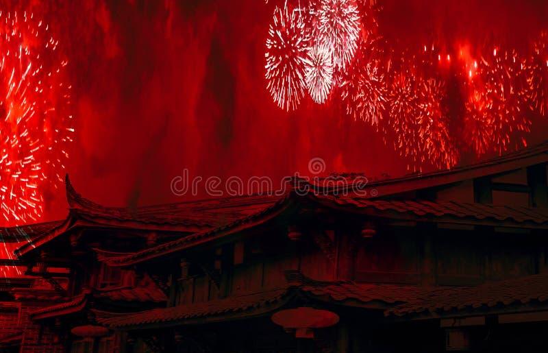 Fond chinois de célébration de nouvelle année de concept de la Chine avec les dessus de toit chinois et feux d'artifice avec de l photos stock