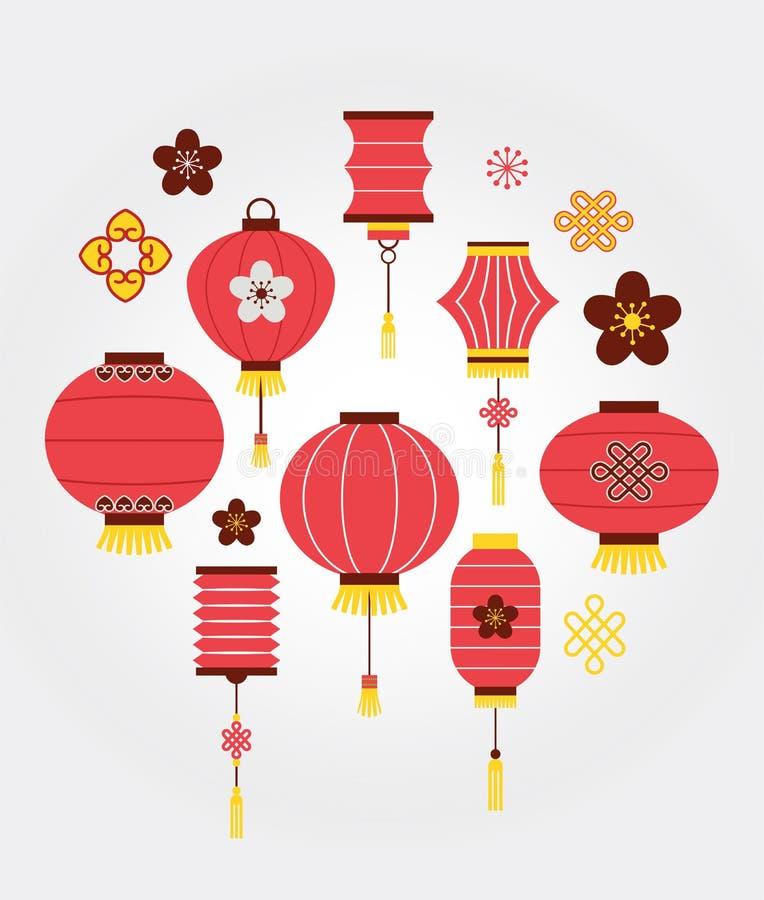 Fond chinois de nouvelle année avec des lanternes illustration de vecteur
