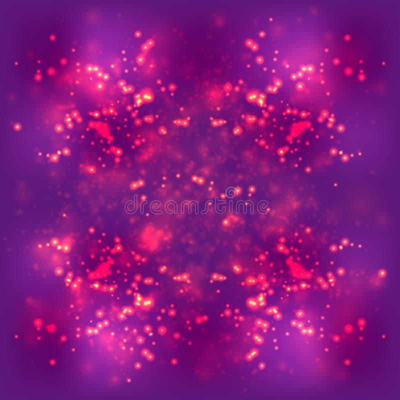 Fond clair abstrait, l'espace pourpre magenta lumineux brouillé, particule du feu illustration stock
