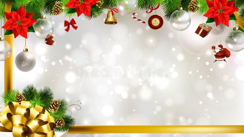 Fond clair de Noël avec des babioles images stock