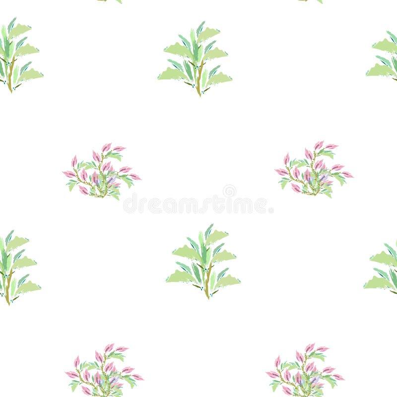 Fond clair de ressort des feuilles vertes et des fleurs roses sur le blanc illustration tir?e par la main de vecteur illustration libre de droits