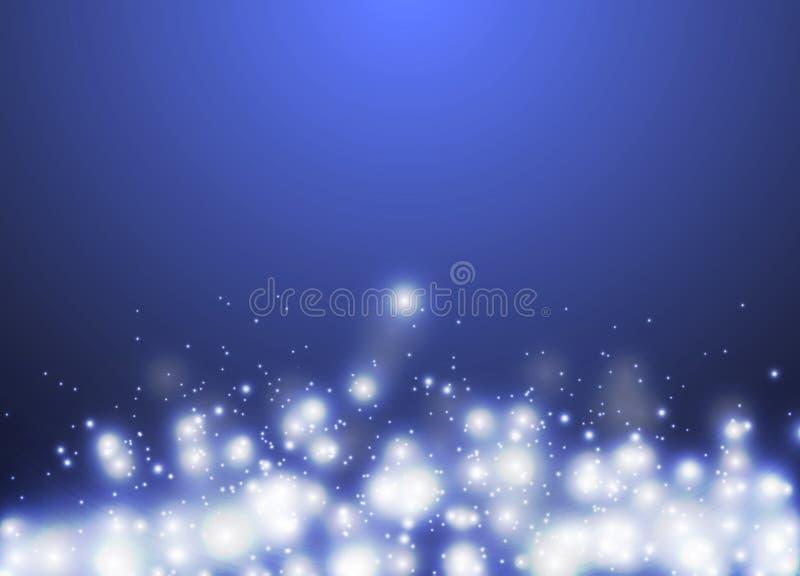 Fond clair de scintillement d'abrégé sur bokeh de scintillement bleu, Noël et fond de fête de nouvelle année illustration de vecteur