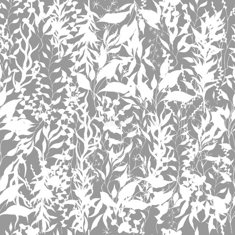 Fond clair des usines, des brindilles et des feuilles s'?levantes Usines s'?levantes Texture noire et blanche de cru pour le tiss illustration stock