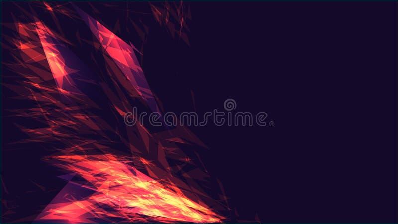 Fond clair rougeoyant lumineux électrique de texture d'énergie cosmique magique de pointe numérique abstraite rouge de verre en v illustration stock