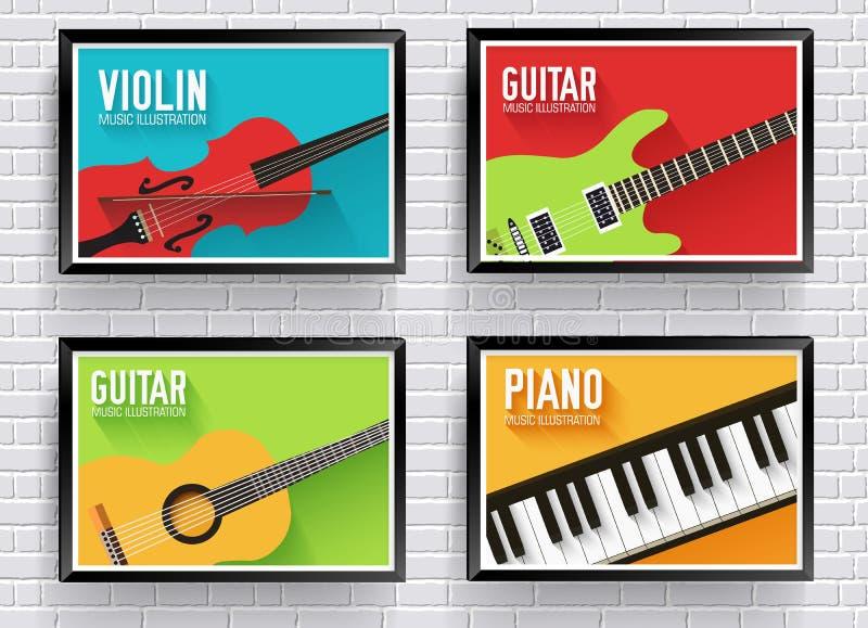 Fond classique coloré d'instruments de musique Conception plate d'instruments de musique illustration libre de droits