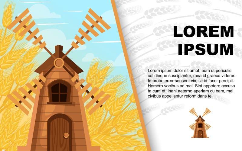 Fond classique en bois de moulin à vent et de blé Bâtiment en bois dans la scène rurale Illustration plate de vecteur Carte de vo photos stock