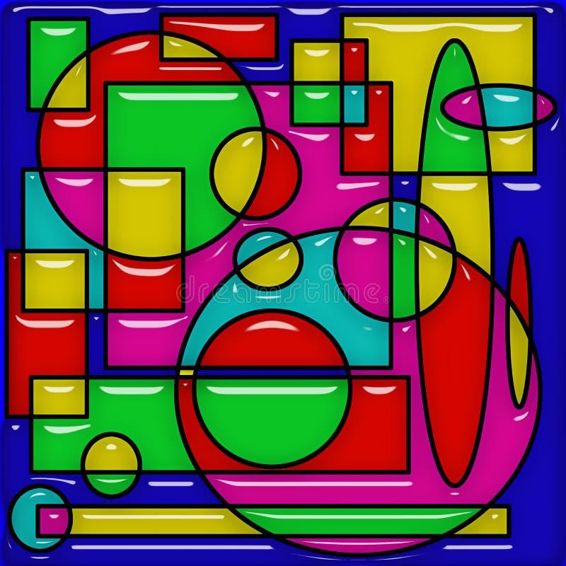 Fond coloré abstrait avec les cercles de recouvrement, les formes ovales, les places et les rectangles illustration libre de droits