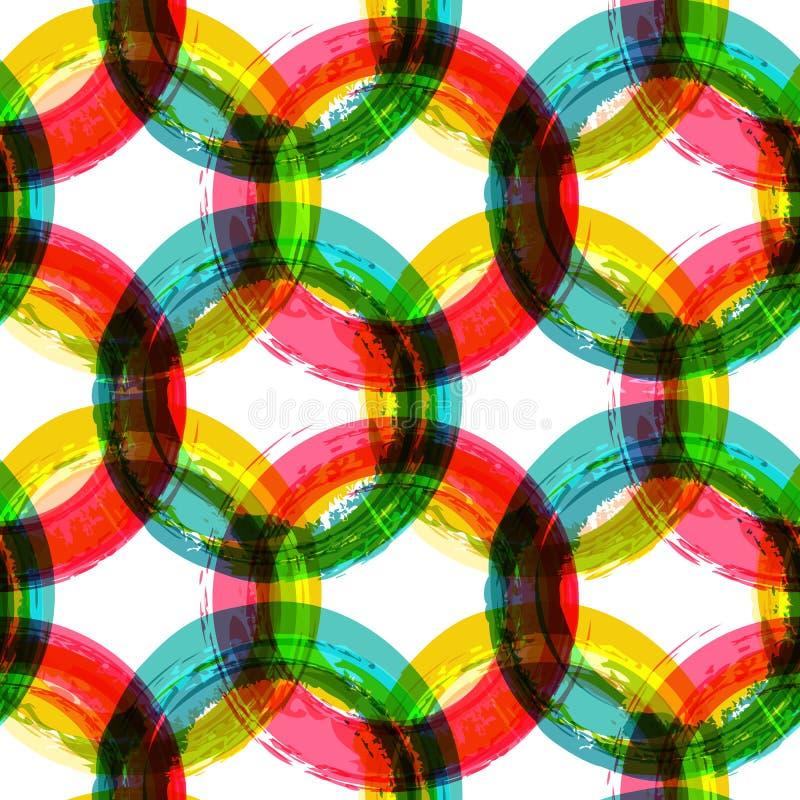 Fond coloré abstrait de brosse d'aquarelle de cercle, mer de vecteur illustration libre de droits