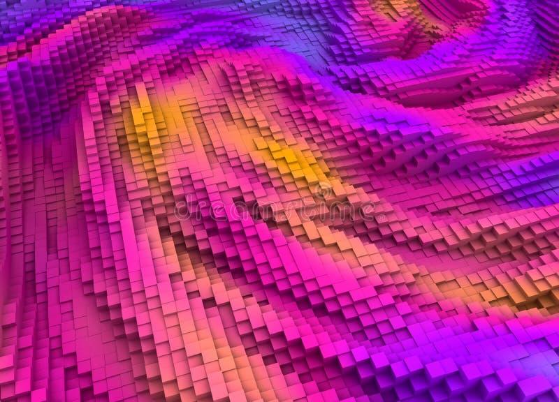 Fond coloré abstrait de cubes en topographie illustration stock