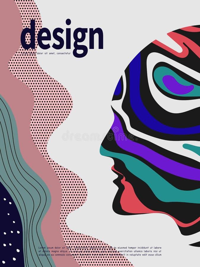 Fond coloré abstrait de tête humaine, concept créatif, conception moderne illustration de vecteur
