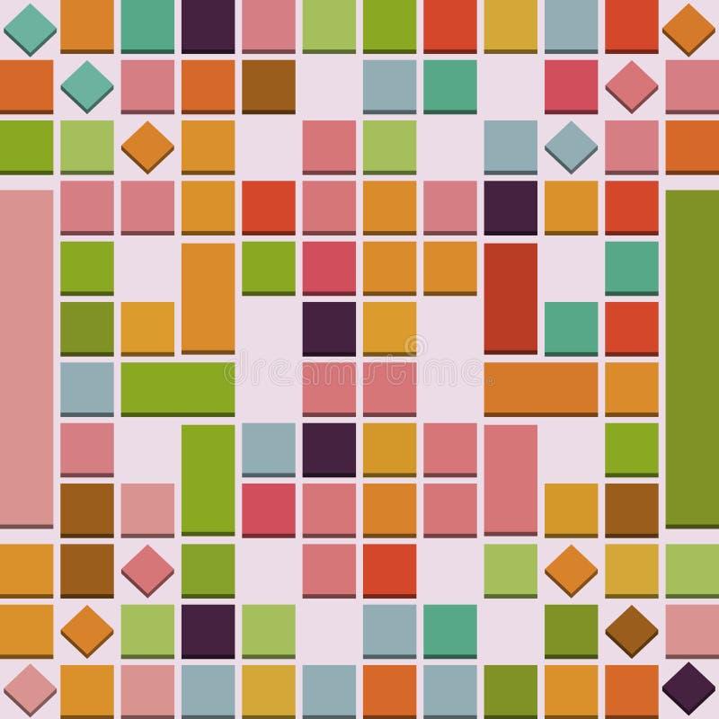 Fond coloré abstrait des places 3D en rose, rouge, vert et jaune illustration stock