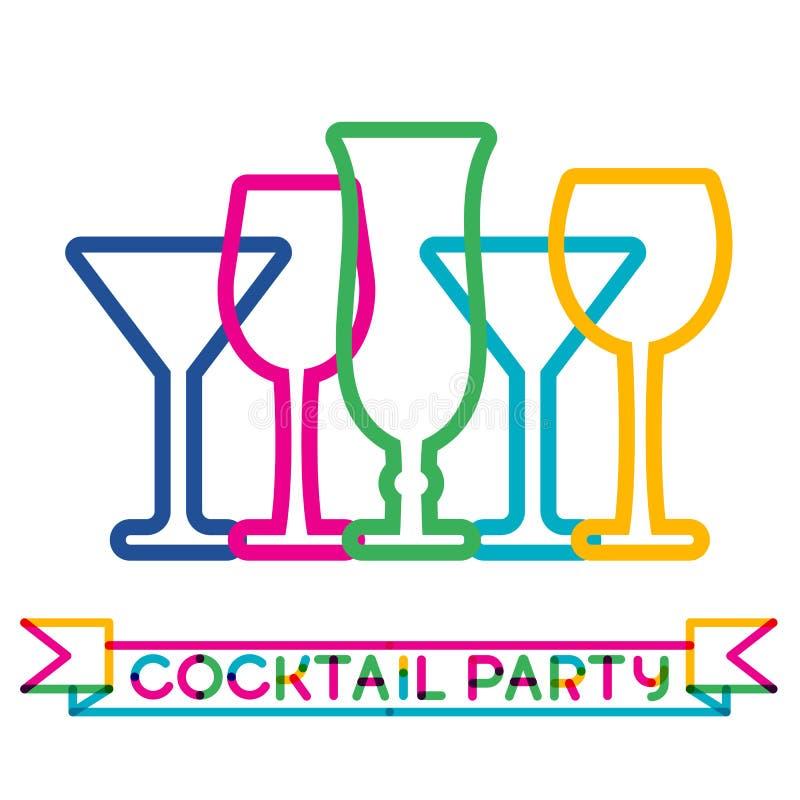 Fond coloré abstrait en verre de cocktail Concept pour des hommes de barre illustration libre de droits