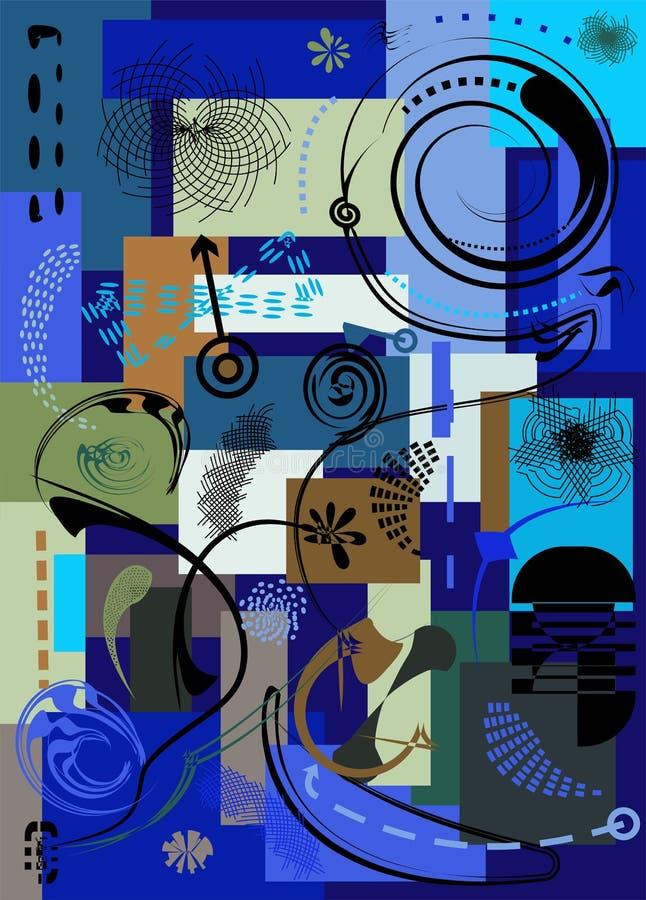 Fond coloré abstrait, formes géométriques de fantaisie, brun, bleu, vert - 18-73 illustration stock
