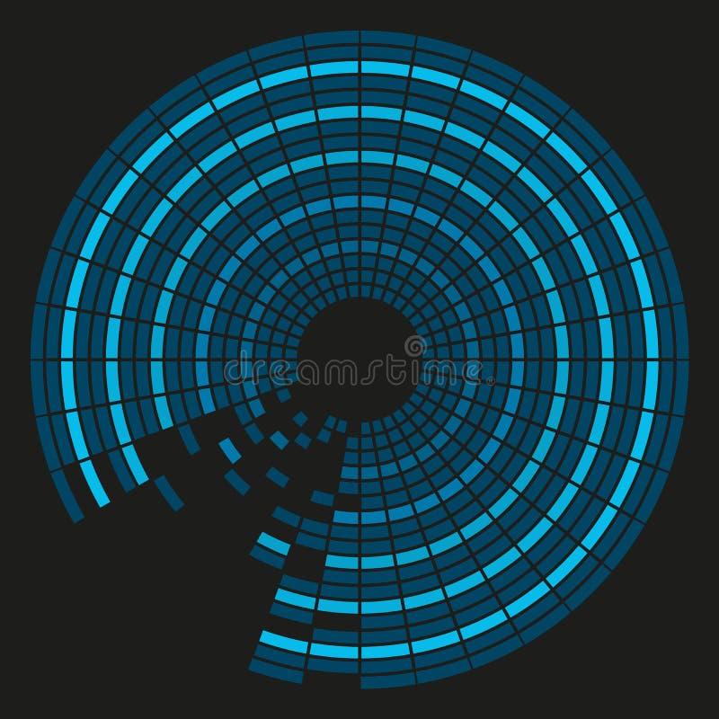 Fond coloré aux nuances du bleu dans des tuiles circulaires avec le bla illustration de vecteur