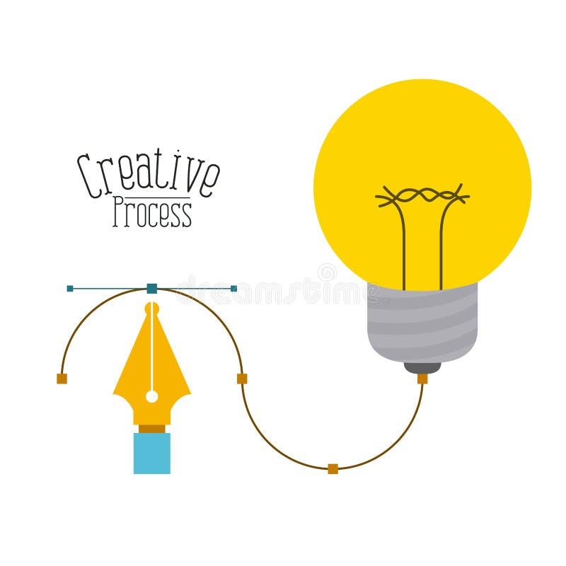 Fond coloré avec l'outil graphique de stylo-plume et le processus créatif d'ampoule de conception illustration de vecteur