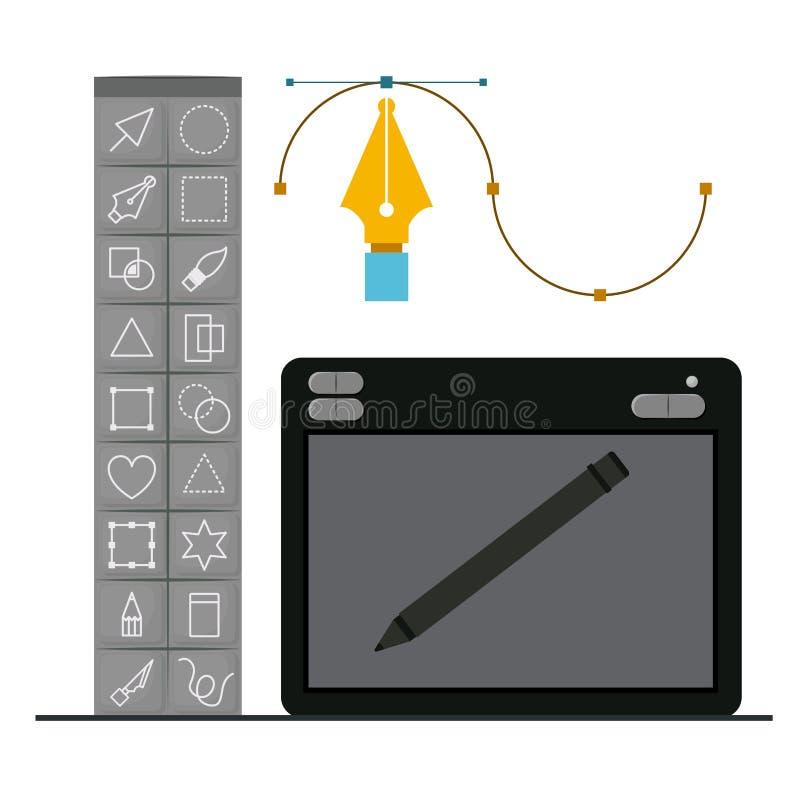Fond coloré avec la boîte à outils de base pour le graphique de concepteur et la table graphique de concepteurs avec le stylo num illustration libre de droits