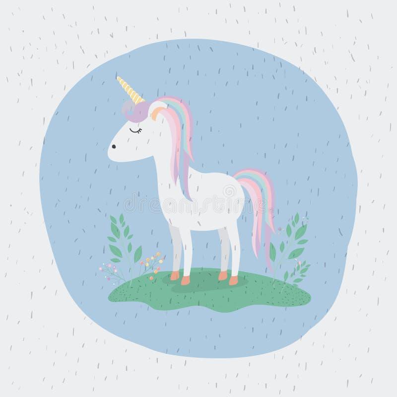 Fond coloré avec la licorne se tenant avec des couleurs d'arc-en-ciel dans la crinière et la queue illustration libre de droits