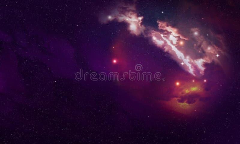 Fond coloré avec la nébuleuse de l'espace Ciel étoilé et explosion cosmique image libre de droits