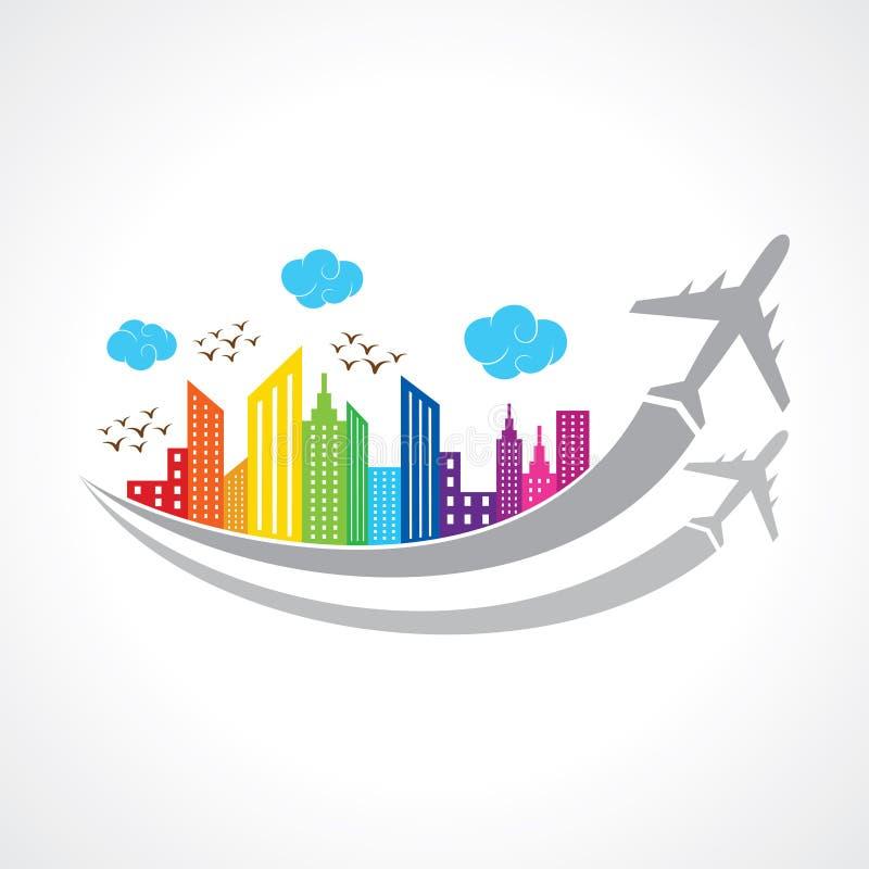 Fond coloré avec la ville et les avions illustration stock
