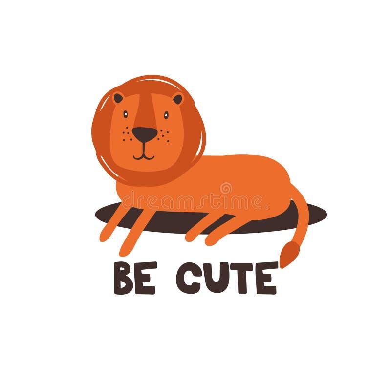 Fond coloré avec le lion et le texte anglais Soyez mignon illustration de vecteur