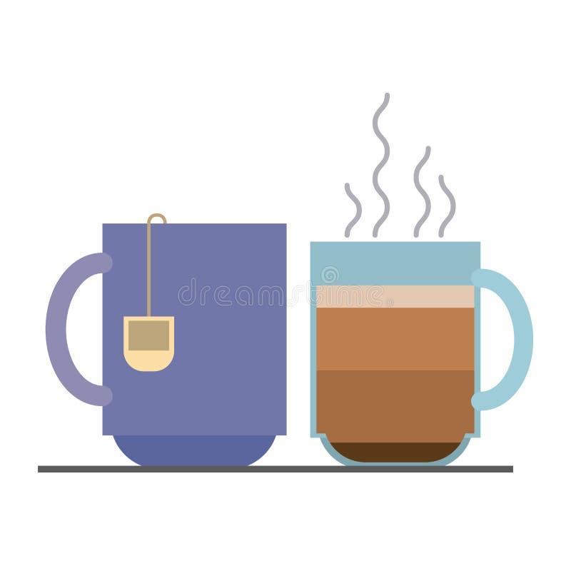 Fond coloré avec le thé chaud de tasse et de tasse de café d'ensemble illustration stock