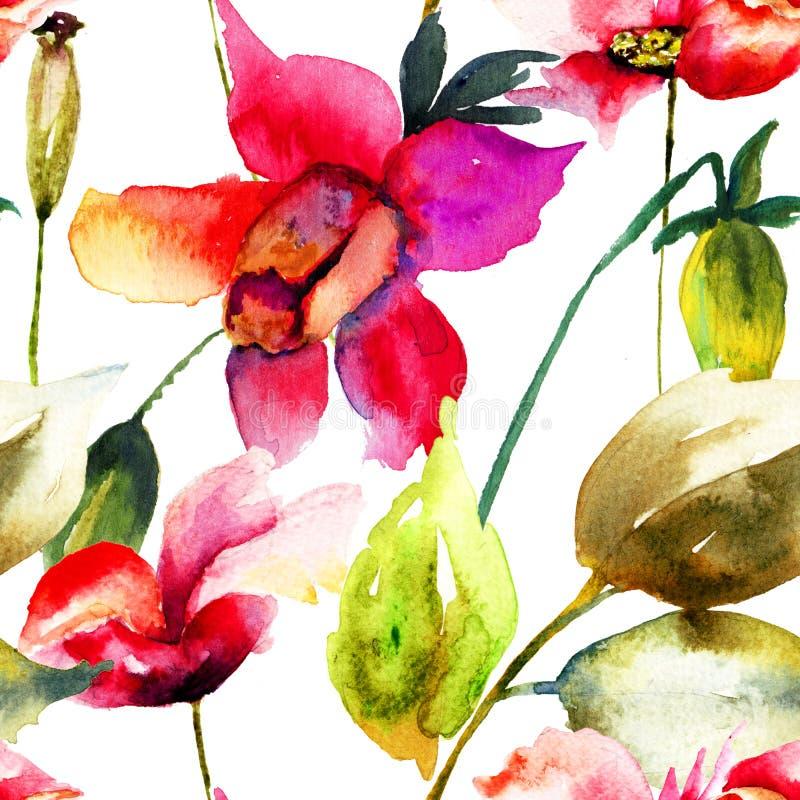 Fond coloré d'été avec des fleurs illustration de vecteur