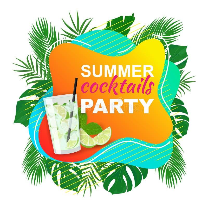 Fond coloré d'affiche de partie de cocktails d'été de vecteur illustration libre de droits