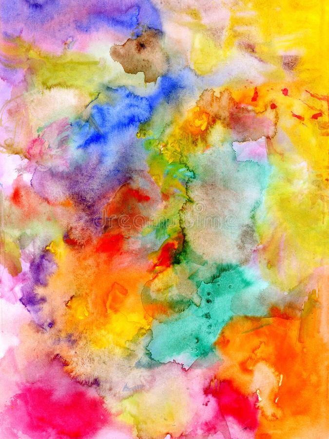 Fond coloré d'aquarelle abstraite - tiré par la main illustration de vecteur