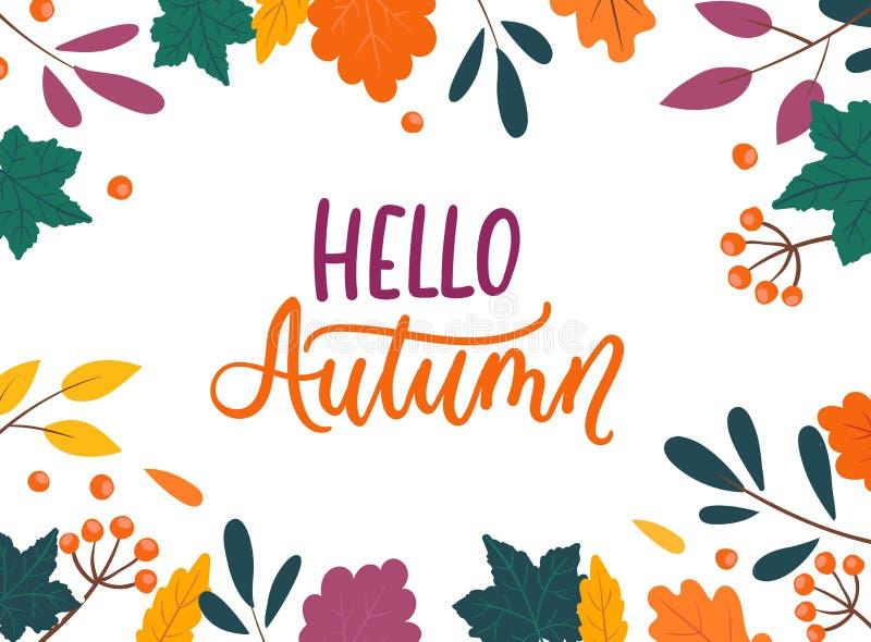 Fond coloré d'automne avec des feuilles d'isolement sur le fond blanc Illustration confortable de vecteur d'automne pour des cart illustration de vecteur