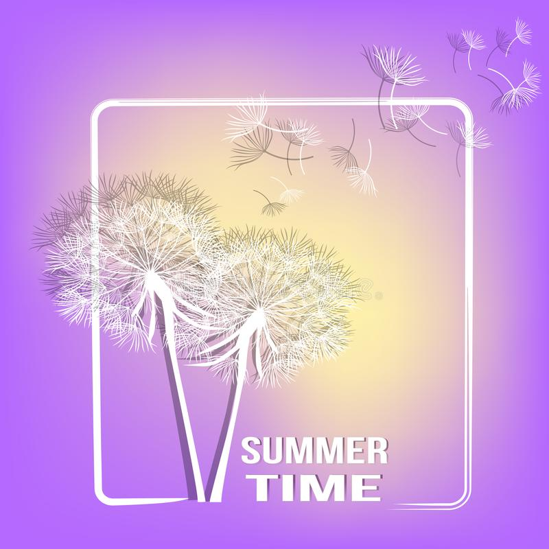 Fond coloré d'heure d'été avec la fleur, pissenlits blancs illustration de vecteur