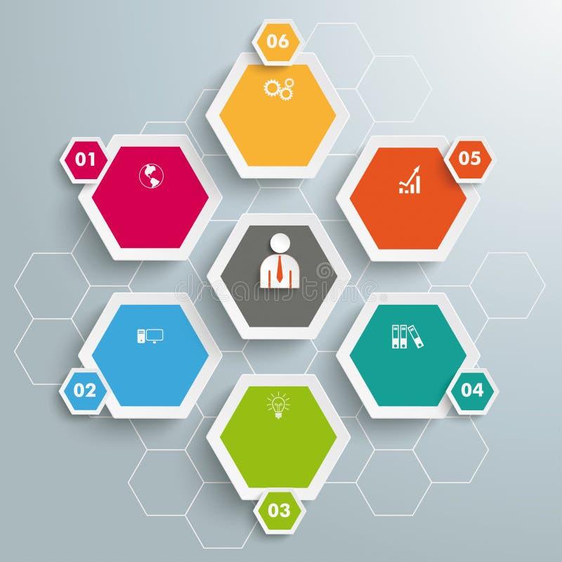 Fond coloré d'hexagone de 6 hexagones illustration stock