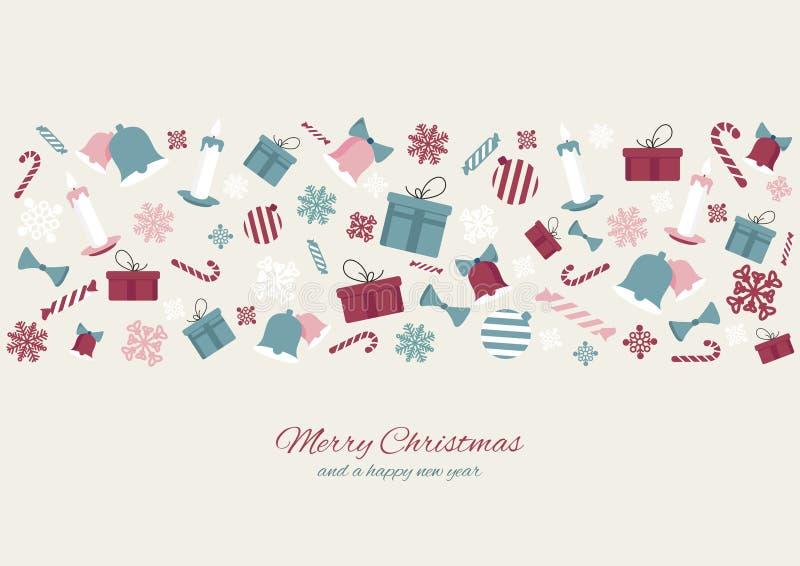 Fond coloré de bannière d'icônes d'élément de Joyeux Noël Conception d'illustration de vecteur illustration stock