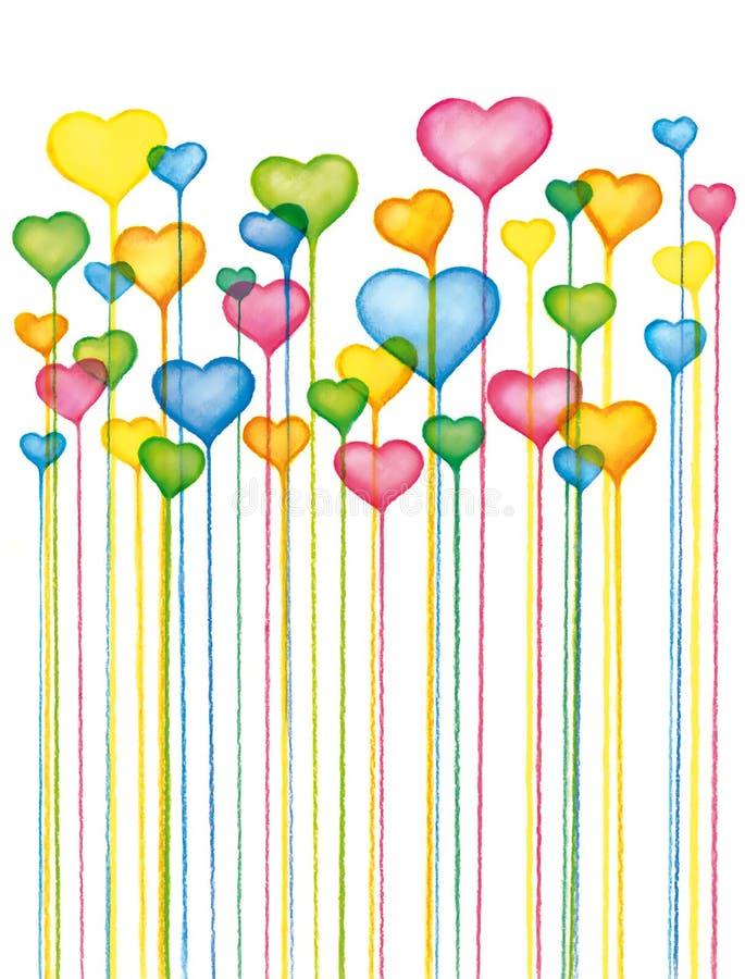Fond coloré de coeurs de valentines illustration de vecteur