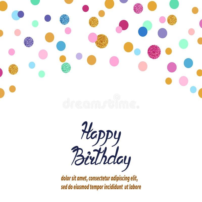 Fond coloré de confettis de vecteur Design de carte de salutation d'anniversaire illustration libre de droits