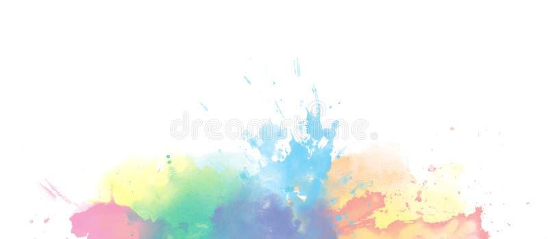 Fond coloré de frontière d'aquarelle d'arc-en-ciel d'isolement sur le blanc illustration libre de droits