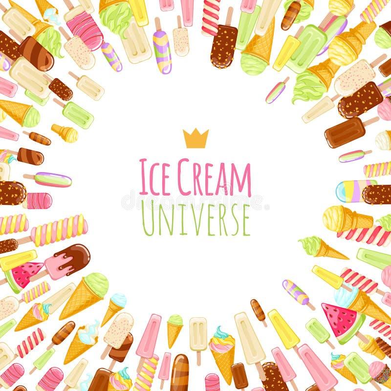 Fond coloré de glaces à l'eau et de cônes de crème glacée  illustration stock
