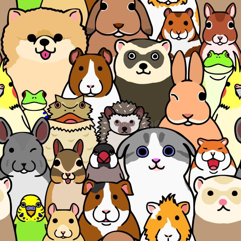 Fond coloré de griffonnage de visages sans couture d'animaux de compagnie illustration libre de droits