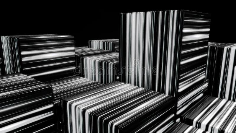 Fond coloré de lampe au néon de cubes, fond de cubes en LED La lumière UV, cubes au néon rougeoyants faits de lignes, moderne illustration libre de droits